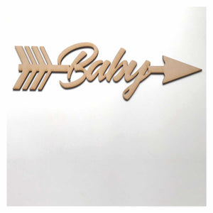 Baby with Arrow Word Sign MDF DIY Wooden - The Renmy Store