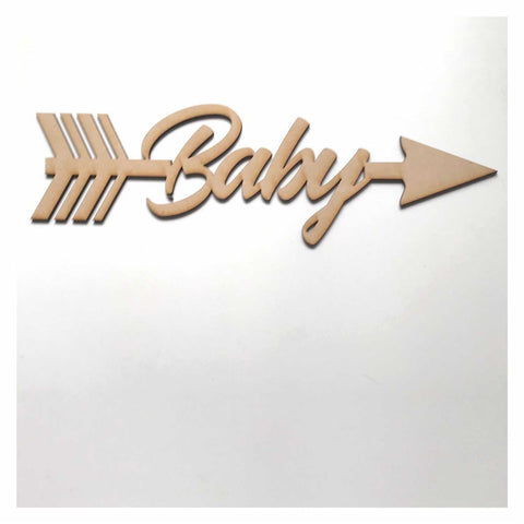 Baby with Arrow Party Shower Kids MDF Shape Word Raw Wooden Wall Art DIY - The Renmy Store