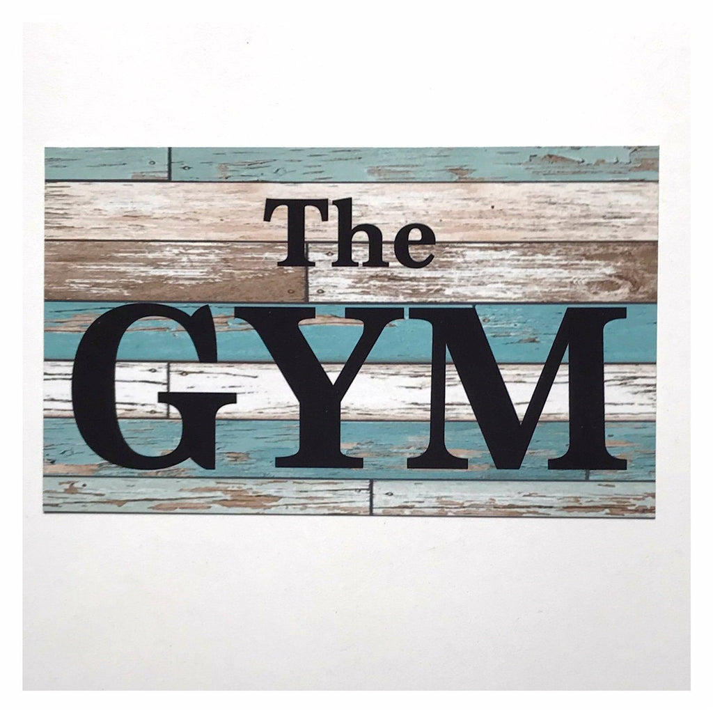 The Gym Blue Door or Room Sign Wall Plaque or Hanging Fitness Health Business Home - The Renmy Store