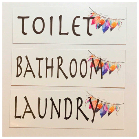 Boho Feather Toilet Laundry Bathroom Sign - The Renmy Store