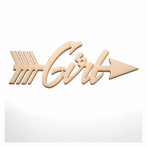 Girl with Arrow Party Baby Shower Kids MDF Shape Word Raw Wooden Wall Art DIY Other Home Décor The Renmy Store