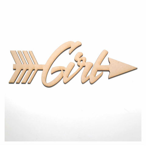 Girl with Arrow Party Baby Shower Kids MDF Shape Word Raw Wooden Wall Art DIY - The Renmy Store