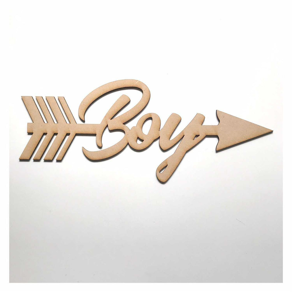 Boy with Arrow Party Baby Shower Kids MDF Shape Word Raw Wooden Wall Art DIY - The Renmy Store