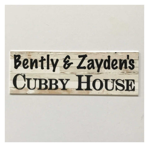 Cubby House Custom Personalised Kids Name Sign