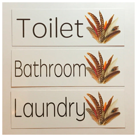 Wild Feathers Toilet Laundry Bathroom Door Sign - The Renmy Store