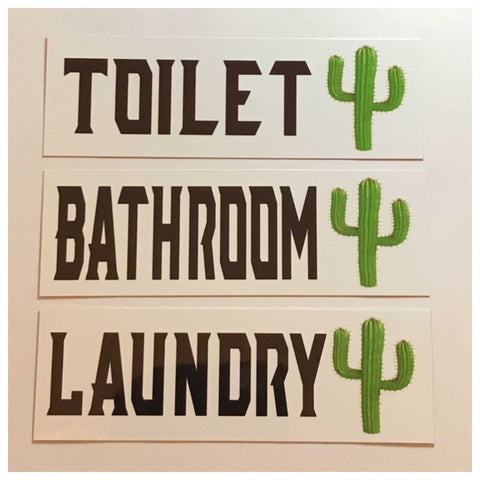 Cactus Toilet Laundry Bathroom Sign - The Renmy Store