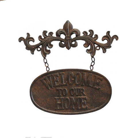 Welcome To Our Home Metal Decorative Fleur Sign