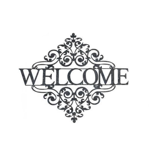 Welcome Metal Decorative White Wash Sign | The Renmy Store
