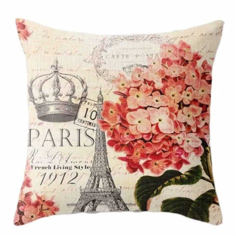 Cushion Pillow French Paris Floral Eiffel Tower Crown - The Renmy Store
