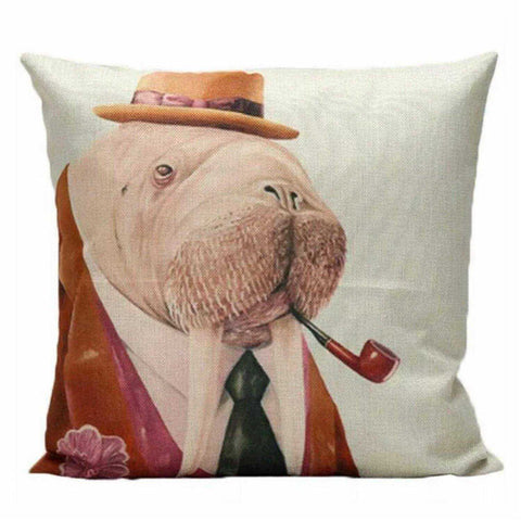 Cushion Pillow Mr Walrus Seal Fun Vintage Retro - The Renmy Store
