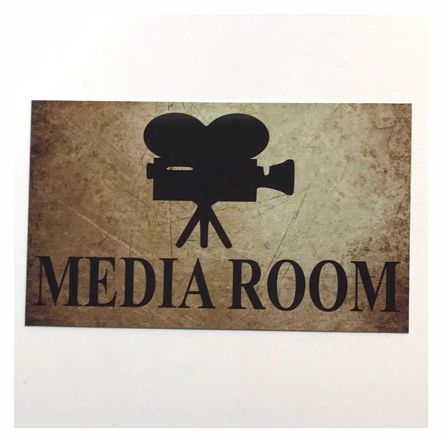Media Room Rustic Vintage Door Sign Plaque or Hanging Plaques & Signs The Renmy Store