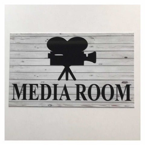 Media Room Rustic Grey Door Sign Plaque or Hanging Plaques & Signs The Renmy Store