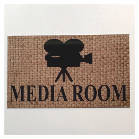 Media Room Rustic Country Door Sign Plaque or Hanging - The Renmy Store