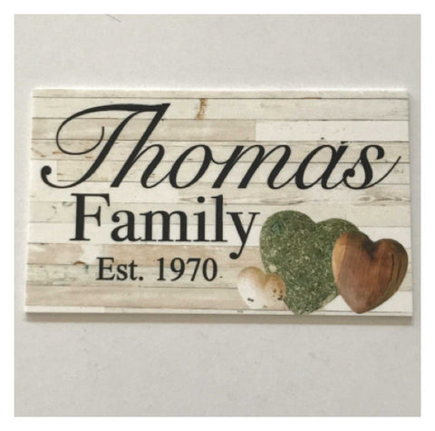 Family Custom Personalised Est Shabby Chic Love Sign | The Renmy Store