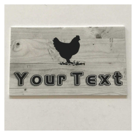 Chicken Hen Your Text Custom Wording French Grey Sign
