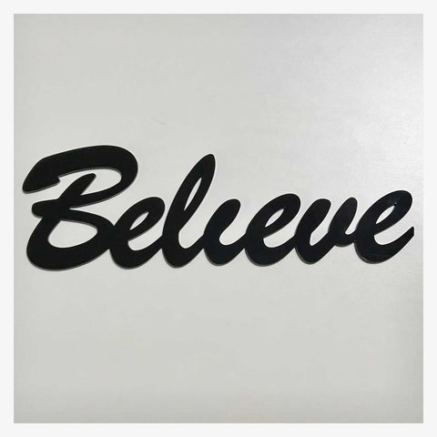 Believe Word Plastic Acrylic Wall Art Vintage Black - The Renmy Store
