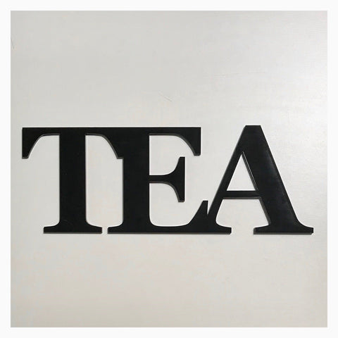 Tea Word Plastic Acrylic Wall Art Vintage Black - The Renmy Store