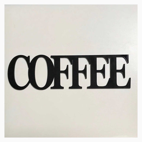Coffee Word Plastic Acrylic Wall Art Vintage Black