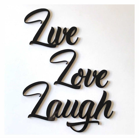Live Love Laugh Word Plastic Acrylic Wall Art Vintage Black - The Renmy Store