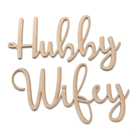 Wifey & Hubby Wife Husband Word Wall Quote Art DIY Raw MDF Timber Love Wedding - The Renmy Store