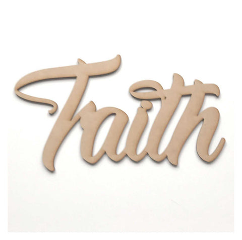 Faith Word Wall Quote Art DIY Raw MDF Timber Wood Religion Religious