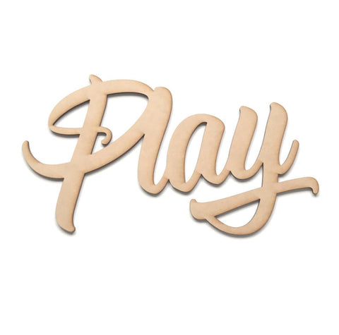 Play Word Wall Quote Art DIY Raw MDF Timber Wood Kids Children