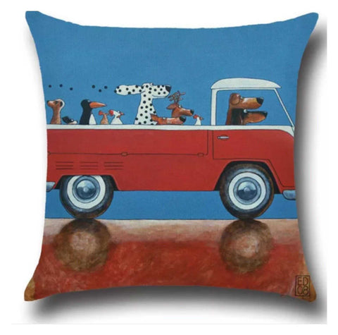 Cushion Pillow Fun Dogs Chickens Animals in Kombie VW Van