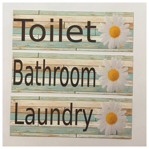 Daisy Flower Toilet Laundry Bathroom Sign - The Renmy Store