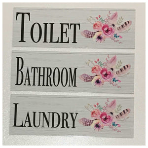 Flowers & Feathers Toilet Laundry Bathroom Sign - The Renmy Store