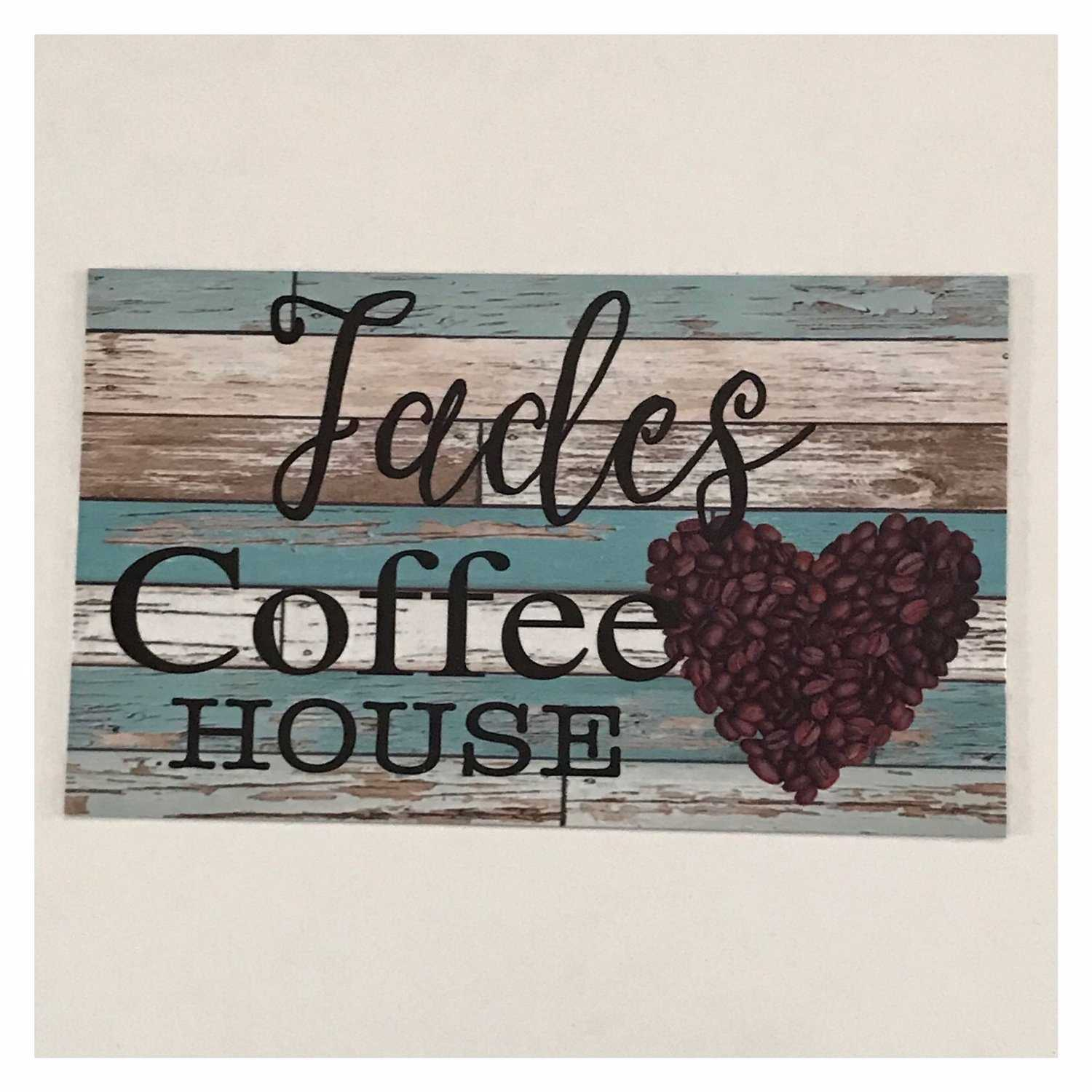 Coffee House Cafe Blue Your Name Vintage Custom Sign - The Renmy Store