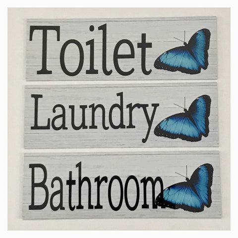 Butterfly Blue Toilet Laundry Bathroom Door Sign | The Renmy Store