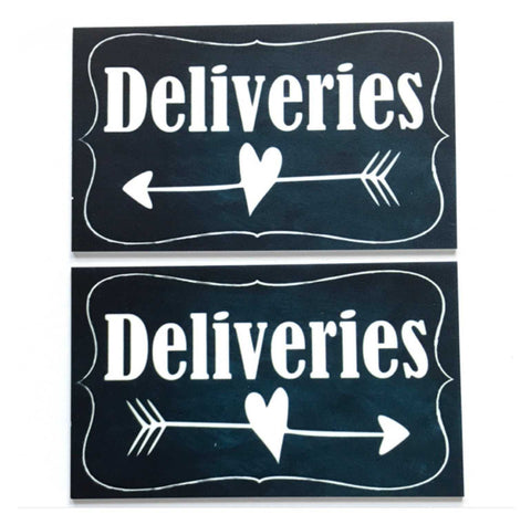Deliveries Vintage Black with Arrow Sign