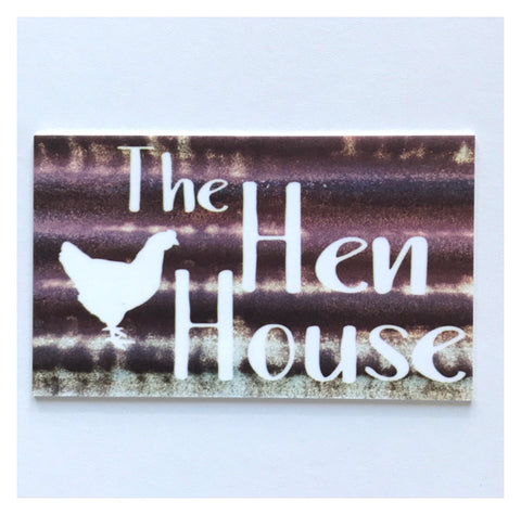 The Hen House Rustic White Metal Style Sign