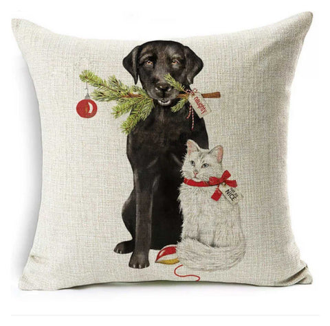 Cushion Pillow Dog Cat Naughty & Nice Christmas - The Renmy Store