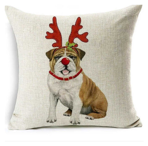 Cushion Pillow Bull Dog Christmas - The Renmy Store