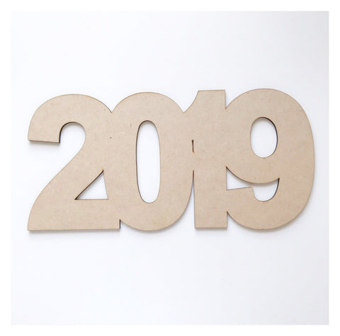 Year Numbers Graduation Anniversary Art DIY Raw MDF Timber Wood