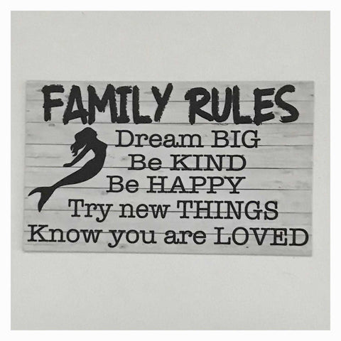 Family Rules with Mermaid Sign Wall Plaque Or Hanging - The Renmy Store
