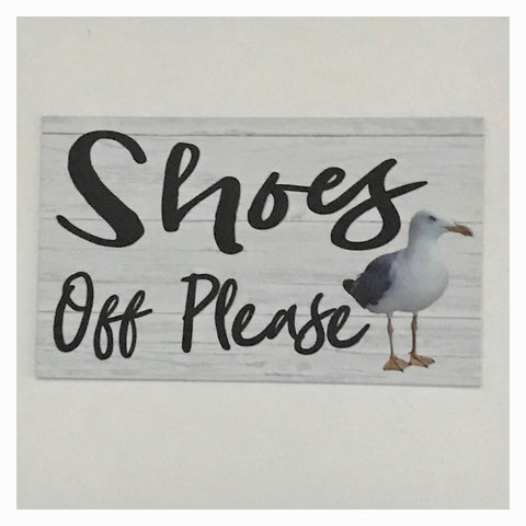 Shoes Off Please with Seagull Sign