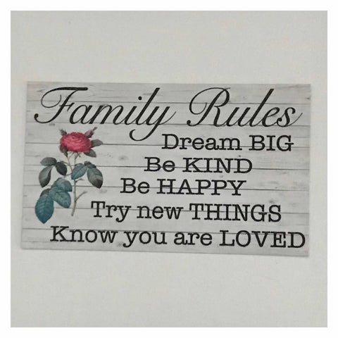 Family Rules with Red Rose Sign Wall Plaque Or Hanging - The Renmy Store