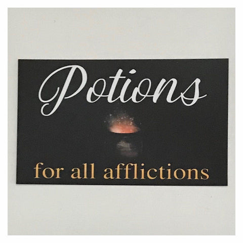 Potions For All Afflictions Health Witch Sign Wall Plaque Or Hanging - The Renmy Store