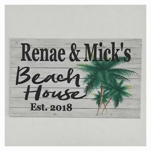 Beach House Est. Custom Name with Palm Trees Sign Wall Plaque or Hanging - The Renmy Store