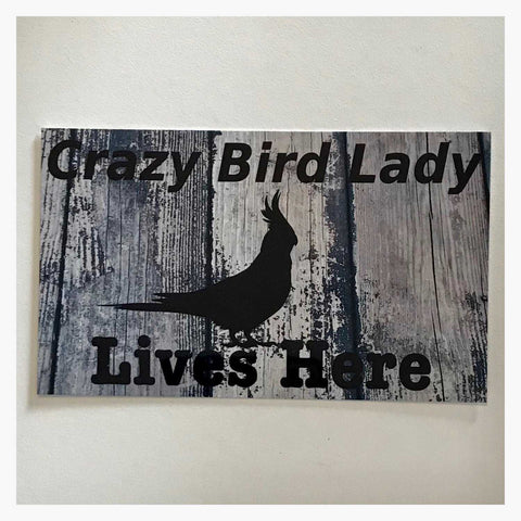 A Crazy Bird Lady Lives Here Cockatiel Parrot Sign Wall Plaque or Hanging - The Renmy Store