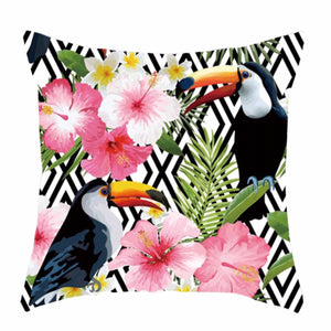 Cushion Pillow Toucan Bird with Tropical Pink Hibiscus Black Diamond - The Renmy Store