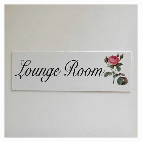 Lounge Room with Vintage Rose Sign Wall Plaque or Hanging Plaques & Signs The Renmy Store