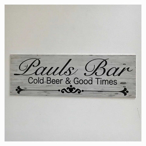 Your Name Custom Bar Cold Beer & Good Times Sign Wall Plaque or Hanging - The Renmy Store