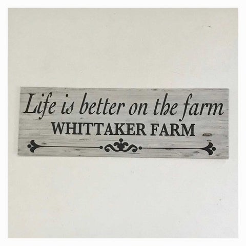 Life Is Better On The Farm Custom Your Name Sign Wall Plaque or Hanging - The Renmy Store