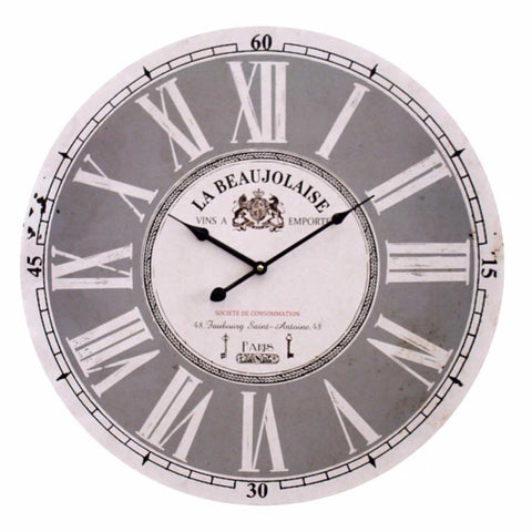 Large 58cm Clock Wall French Provincial Grey Paris - The Renmy Store