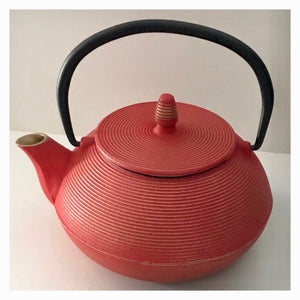 Cast Iron Red & Gold Wealth Teapot 800ml Antique - Tea - Japanese - Chinese - Vintage - The Renmy Store