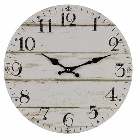 Large 58cm Clock Wall French Provincial Shabby Chic White Timber Style - The Renmy Store