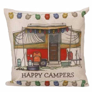 Cushion Pillow Caravan Campers Camping Red Vintage Retro Style - The Renmy Store